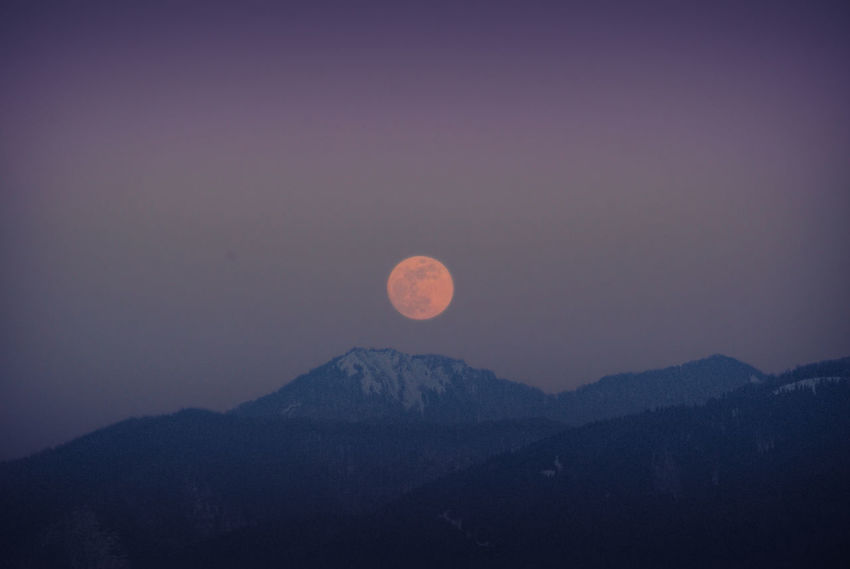 Snow On Mountains Winter Astronomy Beauty In Nature Evening Sky Moon Mountain Mountain Range Nature Night No People Outdoors Scenics Sky Tranquil Scene Tranquility