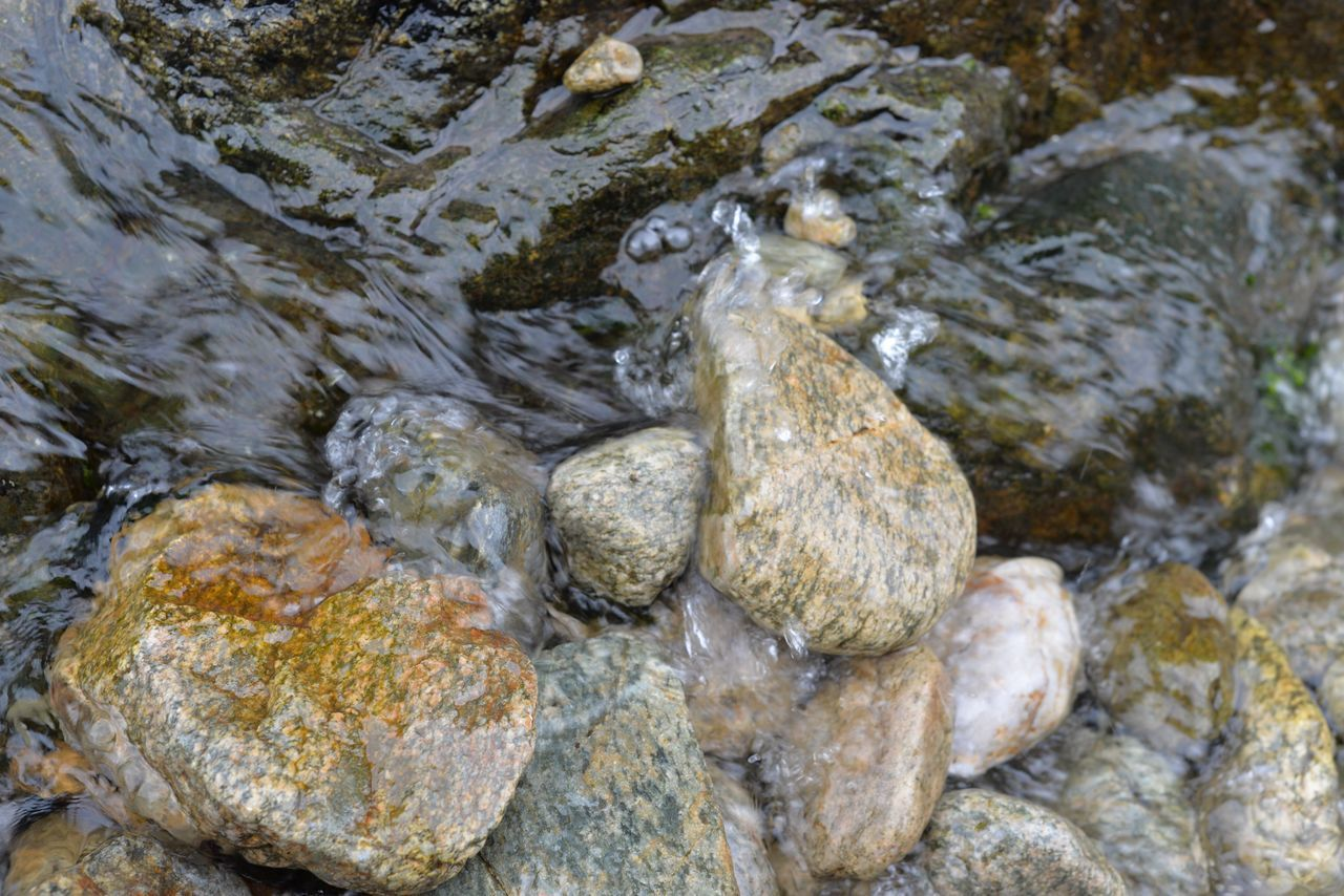 rock, solid, rock - object, water, no people, nature, day, outdoors, river, close-up, high angle view, textured, stone, wet, rough, transparent, motion, beauty in nature, stream - flowing water, flowing water, pebble, purity, flowing