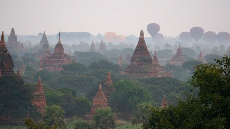 Ancient Architecture Balloons Over Pagodas In Bagan Cultures Famous Place History Myanmar Place Of Worship Religion Spirituality Temple Temple - Building Travel Destinations