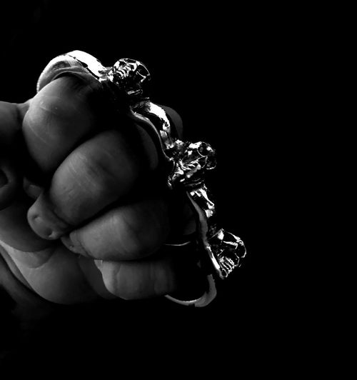 Human Hand Human Body Part Close-up Black Background Blackandwhite Photography Brass Knuckles