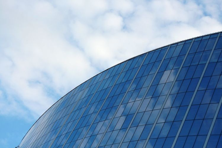Blue Sky Low Angle View Technology Cloud - Sky Architecture Built Structure Arts Culture And Entertainment No People Modern Outdoors Day Abstract Urban Urban Geometry Architecture Cityscapes