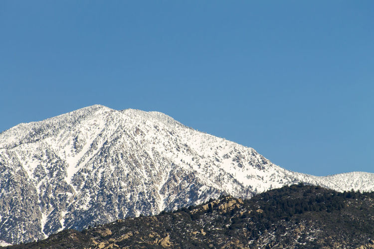 Mount San Gorgonio in Winter Mountain Sky Cold Temperature Beauty In Nature Clear Sky Scenics - Nature Snow Winter Nature Snowcapped Mountain No People Blue Mountain Peak Copy Space Tranquility Tranquil Scene Day Outdoors Backgorund Space For Text Peak Winter Clear Sky Blue Sky