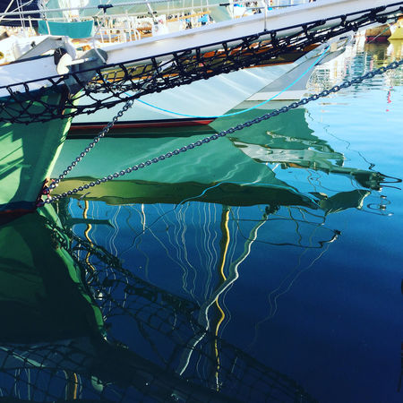 Blue Boat Bowsprit Cable Close-up Day Nature No People Outdoors Reflection Reflections In The Water Schooner Sky Fine Art Photography