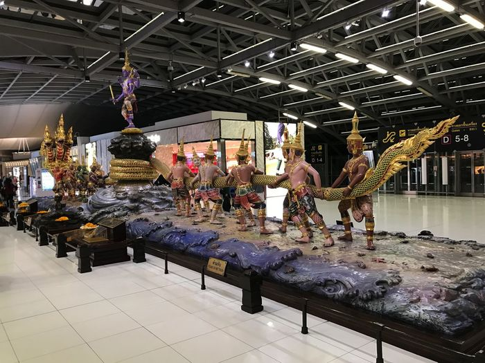 Ornate Thai Centrepiece in Bangkok Airport Air Travel  Airport Airport Feature Bankok Buddhism Buddhist Culture Centrepiece Composition Full Frame Full Length Fun Illuminated Indoor Photography Multi Coloured Thai Culture Thailand Unusual