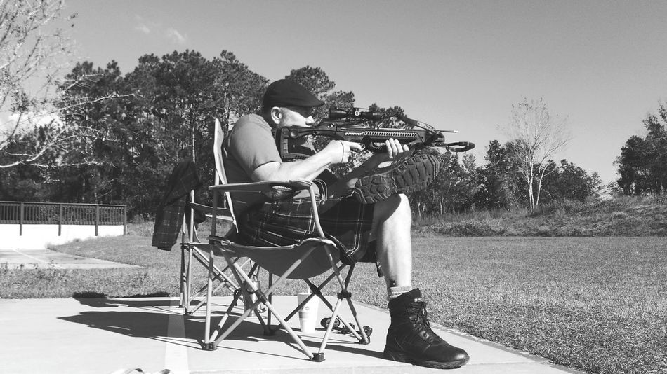 Take Aim Day Outdoors Tree Sky Adult People No Edit/no Filter One Man Only Sport Men Sportsman Archery Range Archery Pensacola Florida Highlander Black And White Friday Men In Kilts Be. Ready. One Person