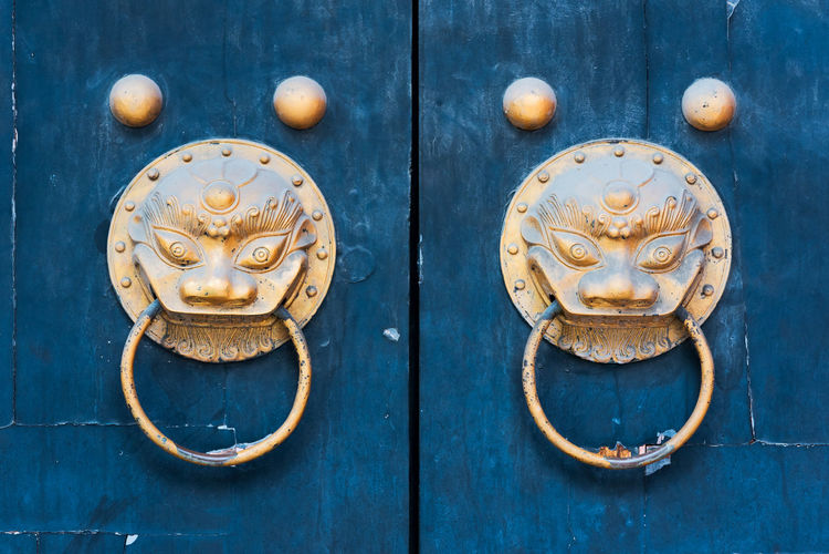 Close-up of door knockers