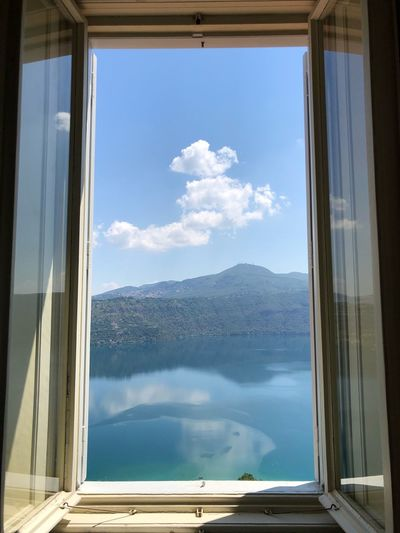 Reflection of sky on glass window