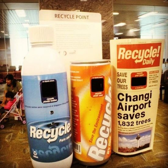 Trash bins...no, it's TRAAAAASH BIIIIIINS. GUERILLAMARKETING Biggie  Singapore CleanAndGreen ChangiAirport