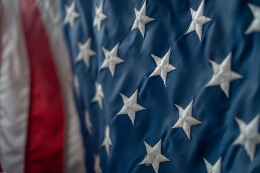 Selective Focus Closeup Art Decoration Fourth Of July Flag Stars And Stripes Unitedstates Connecticut Pattern Texture Abstract Fabric Design Flag America Blue Patriotism Flag Cultures Hanging Star Shape Close-up Seamless Pattern Cloth Textured  Citizenship Backgrounds