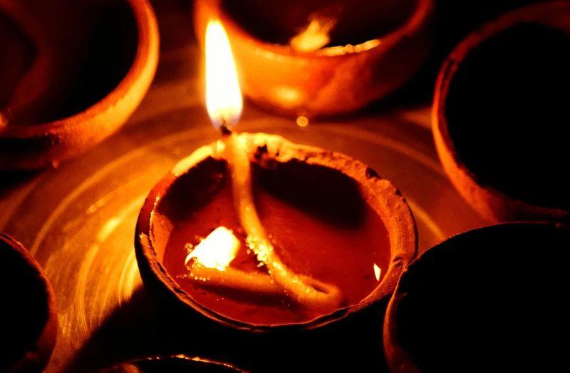 High Angle View Of Diya Burning During Diwali