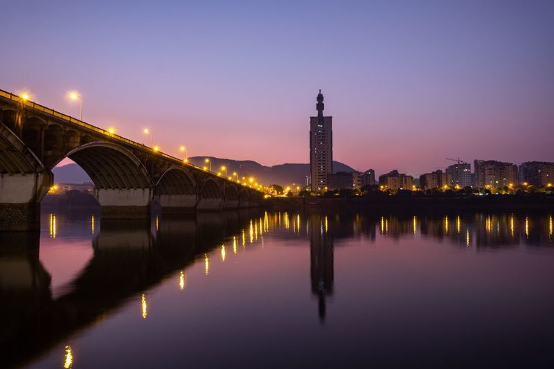 橘子洲大桥 Built Structure Architecture Water Illuminated Bridge Sky Night City Dusk Nature River