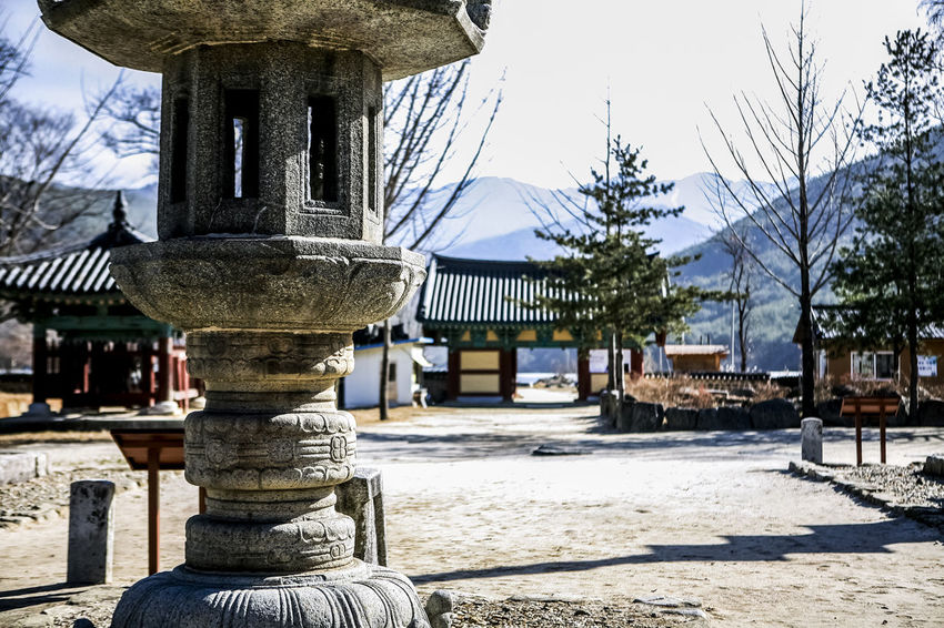 Absence Ancient Civilization Architecture Bench Buddhism Buddhist Temple Building Exterior Built Structure Empty Famous Place Footpath Incidental People Old Place Outdoors Park Park - Man Made Space Religion Shadow Silsangsa Spirituality Stone Tower Tranquility Tree Tree Trunk Wood