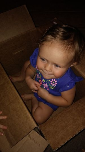 Grandchild Hanging Out Playing In A Box Fun happy Beautiful
