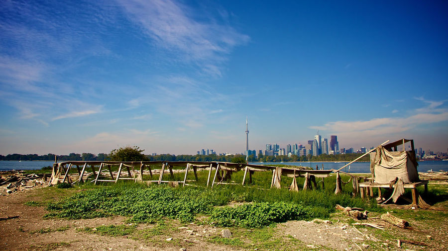 Blue Sky Cityscapes Duck Blind Lake Ontario Tommy Thompson Park Toronto