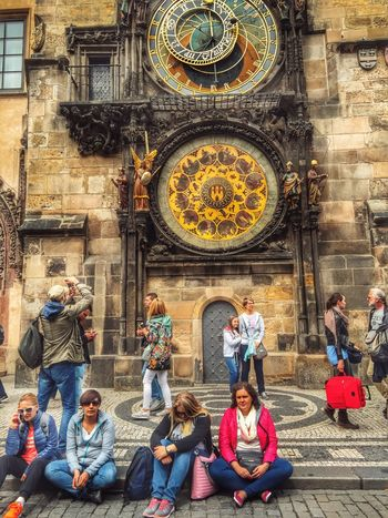 Praha Prague Prague♡ Clock Clock Tower Time Tourists Travel People Watching Prague Czech Republic Prague Old Town Prague Tower 2016 March 2016