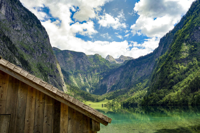 Alps Beauty In Nature Berchtesgadener Land  Cloud - Sky Dam Europe ExploreEverything Germany Going For A Walk Green Color Lake Mountain Mountain Range Mountains Nature Outdoors Paradise Rocks Travel Travel Destinations Valley Wanderlust Water Water_collection Wooden House