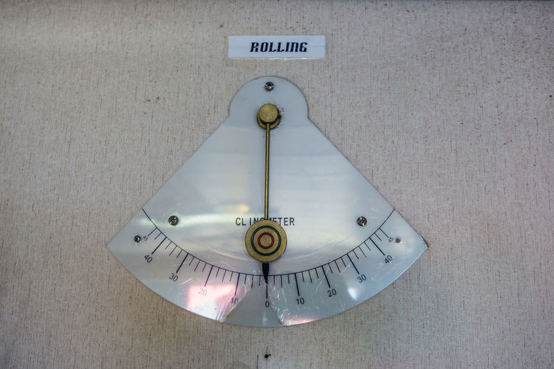 clinometer Clinometer Rolling Vessrl Ship Boat Nautical Equipment Maritime Bridger Control Tower Degree Listing Even Keel Straight Meter Indication Measurement Offshore Offshore Life Communication Text Close-up
