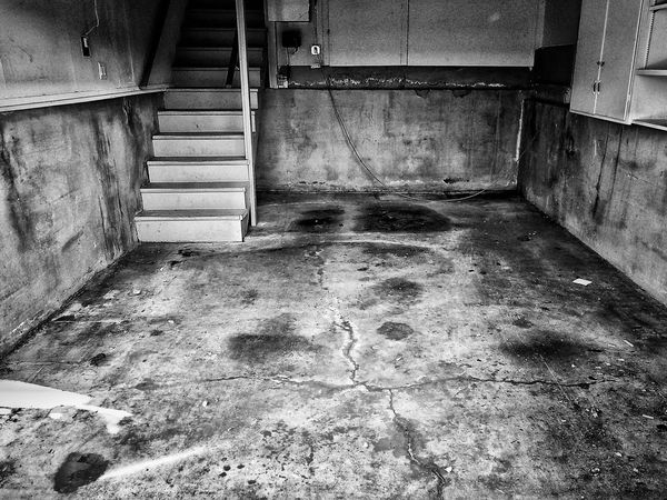 Indoors  Dirty Damaged No People Day Eerie Spooky Shadowy Black And White Black And White Photography Light And Shadow Backgrounds Derelict Dilapidated Building Abandoned Dilapidated Abandoned Places Stairs Garage Basement Empty Empty Places Empty Space