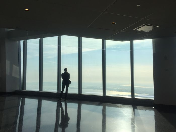 Rear view of silhouette man standing by window