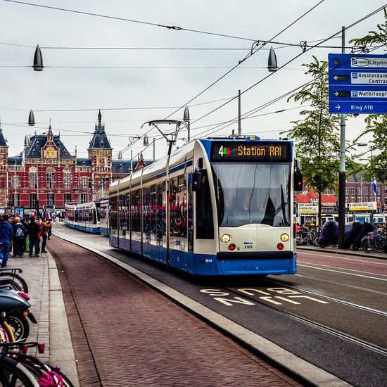 Cloudy Day Cloudy Sky City Public Transportation Power Line  Transportation Rail Transportation Outdoors Travel Destinations Day City Amsterdam
