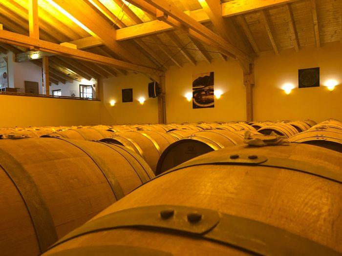 Interior of illuminated wine cellar