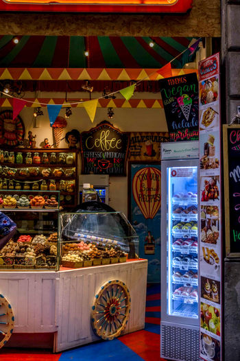 Colorful Circus Barrio Gótico Sweet Store Interior Design Interior Barcelona SPAIN Colorful Design Sweet Food Food Candy Ice Cream Multi Colored City Choice Store For Sale Price Tag Market Stall Stall Street Market Display Retail Display Market Shop Various Market Vendor Raw My Best Photo