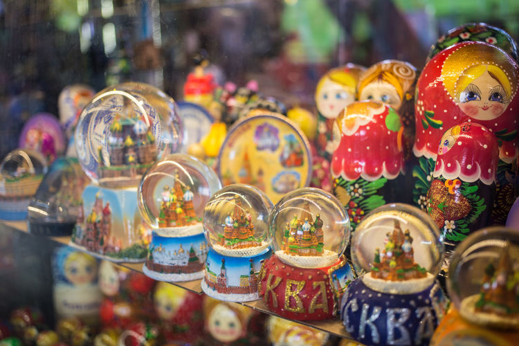 Close-up of multi colored decorations for sale in market