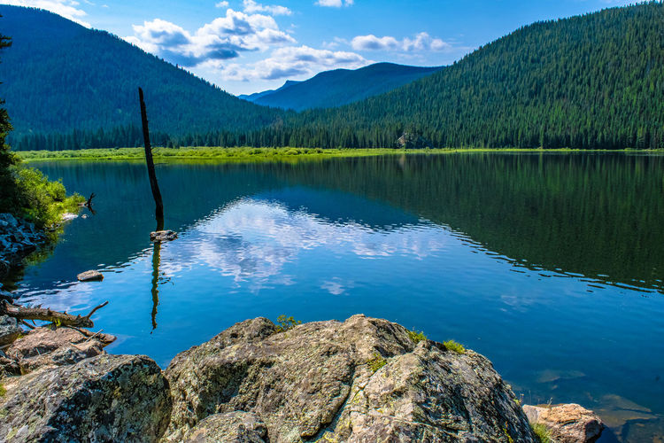 Monarch Lake Reflection Beauty In Nature Blue Day Forest Indian Peaks Lake Lake View Monarch Lake Mountain Mountain Range Nature No People Non-urban Scene Outdoors Reflection Scenics Sky Tranquil Scene Tranquility Tree Water
