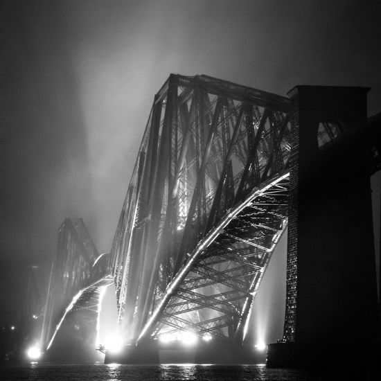Forth Rail Bridge through the haar, Black and White Architecture Arts Culture And Entertainment Bridge Bridge - Man Made Structure Built Structure Connection Engineering Famous Place Fountain Glowing Illuminated International Landmark Lens Flare Low Angle View Modern Night Outdoors Speed Sun Blackandwhite ForthRailBridge Haar