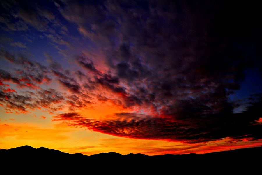 Sunset from West Jordan, Utah. Sunset Orange Color Dramatic Sky Silhouette Scenics Nature Red No People Outdoors Beauty In Nature Landscape Tranquility Night Multi Colored Mountain Sky