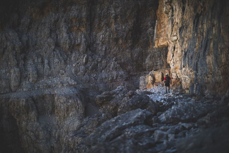 Blank rock everywhere. Rock - Object One Person Adventure Day Nature Rock Climbing Extreme Sports Outdoors Beauty In Nature Hiking Travel Brother Dolomites, Italy Alps Italy Let's Go. Together.