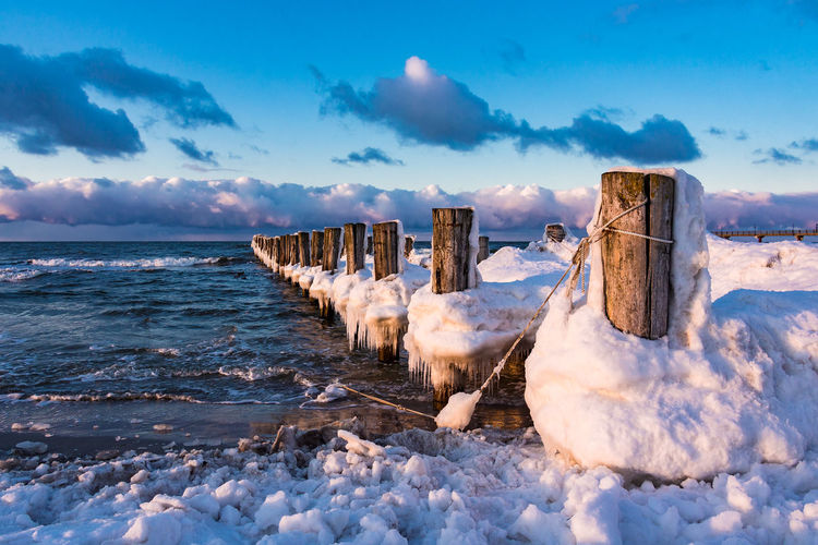 Groynes on shore of the Baltic Sea. Baltic Sea Beach Beauty In Nature Coast Day Evening Fischland-darß-zingst Frozen Groynes Holiday Landscape Nature Outdoors Scenics Sea Shore Sky Snow Tourism Travel Destinations Vacation Water Winter Zingst