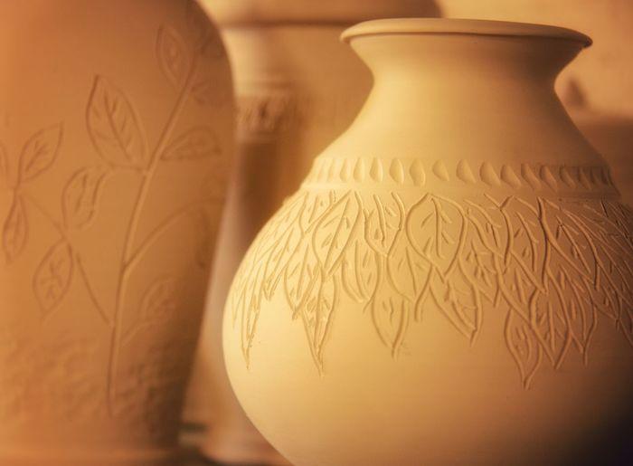 Close-up of clay jars