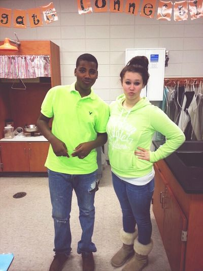 Crystal And I Rocking Our Neon Green