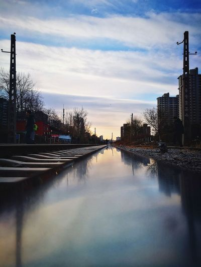 Reflection Architecture City Sky No People Cityscape Outdoors Urban Skyline Built Structure Skyscraper Building Exterior Silhouette Shadows & Lights Railroad Track Mirrored Reflection Beijing, China Street Photography Huawei P9 Photos The Way Forward Diminishing Perspective Tranquil Scene Rail Transportation Modern Reflection Cityscape