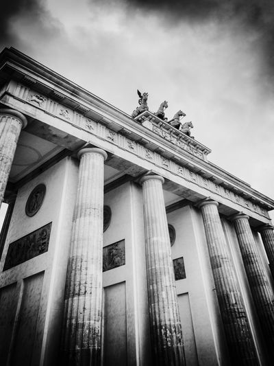 Brandenburg Gates, Berlin, Germany Architecture Built Structure Low Angle View Building Exterior Architectural Column Sky Cloud - Sky No People History The Past Building Day Nature Travel Destinations Outdoors City Sculpture Old Tourism Neo-classical Colonnade Ornate Berlin Brandenburg Blackandwhite