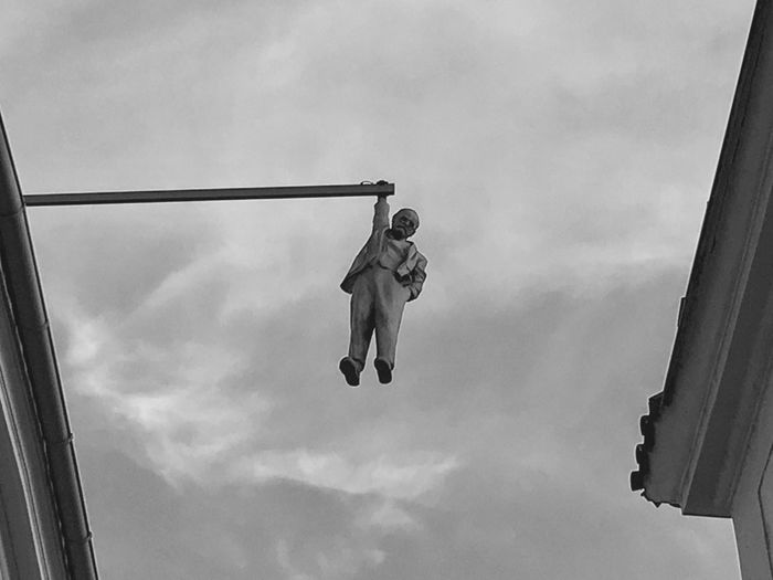 Sigmund Freud Freud Prague Blackandwhite 2017 Art Is Everywhere Low Angle View Sky Day Mid-air Outdoors Real People Full Length Childhood One Person People Sculpture
