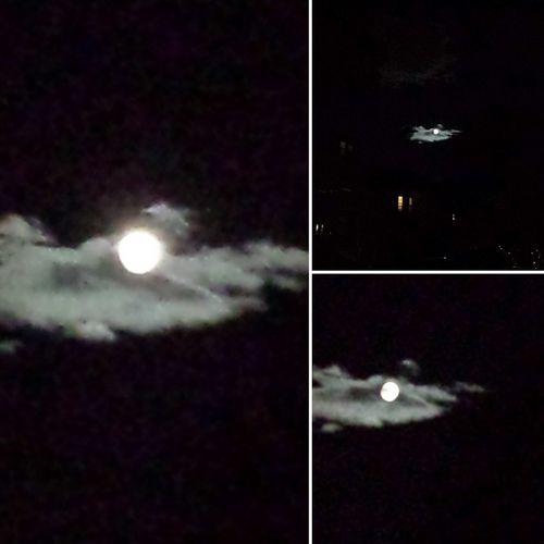 West Roxbury Boston Massachusetts Full Moon Night  Full Moon Behind Clouds 19-July-2016: Enchanting full moon behind veil of the clouds, amazing!