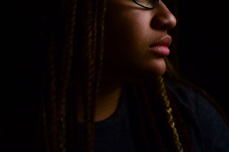 my profile Self Portrait EyeEmNewHere Natural Hair Twists Profile Glasses Melanin Black Background Black African American Woman African American This Is My Skin Human Lips Young Women Beautiful Woman Women Beauty Females Human Face Shadow Close-up Blank Expression Fine Art Portrait