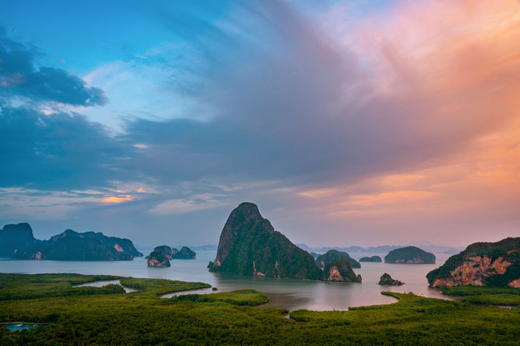 Water Sky Scenics - Nature Beauty In Nature Cloud - Sky Tranquil Scene Sea Tranquility Mountain Rock Nature Idyllic Land Non-urban Scene No People Sunset Solid Rock - Object Rock Formation Outdoors Bay Travel Thailand Samed Nang She