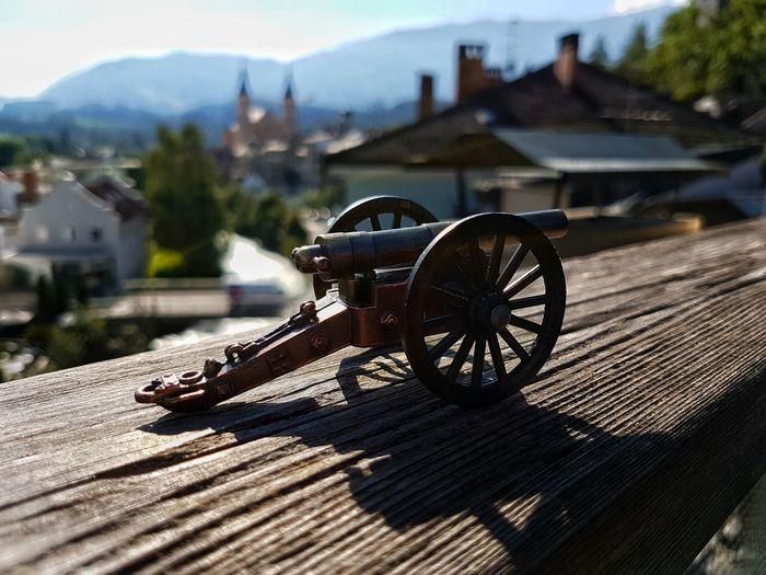 Sunrise :) Close-up Transportation Surface Level Focus On Foreground Outdoors Mountain Day Sunrise Bright Weapon Ww2 Antique Canon Shooting High Balcony Wood Iron Sharp Depth Of Field South Tyrol Galaxy S7