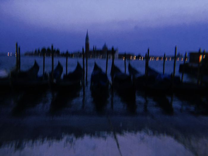 Venice at night Gondola Venice Sky Dusk Silhouette Transportation Water Nature Architecture Nautical Vessel No People Travel Destinations Wooden Post Sunset Outdoors Panoramic Beauty In Nature Built Structure Night