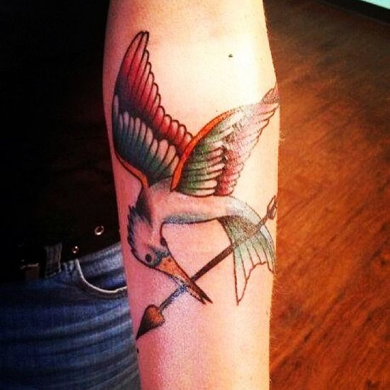 Mockingjay Ink Tattoo Forearm coverup lasvegas downtowntattoo freemontstreet vacation lasvegas