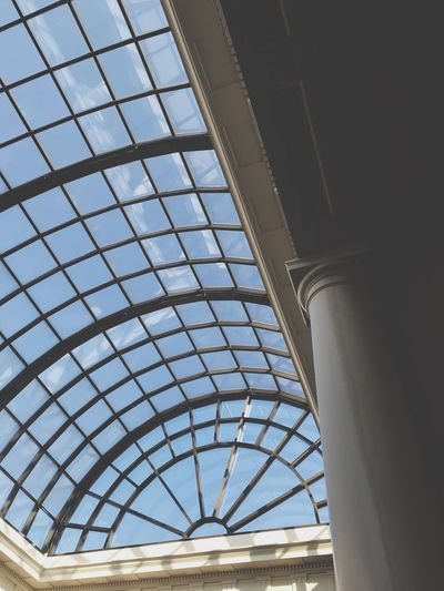 EyeEm Selects Architecture Built Structure Low Angle View Ceiling Indoors  Day Sunlight Sky Glass - Material Architectural Feature Roof Architecture And Art Skylight No People