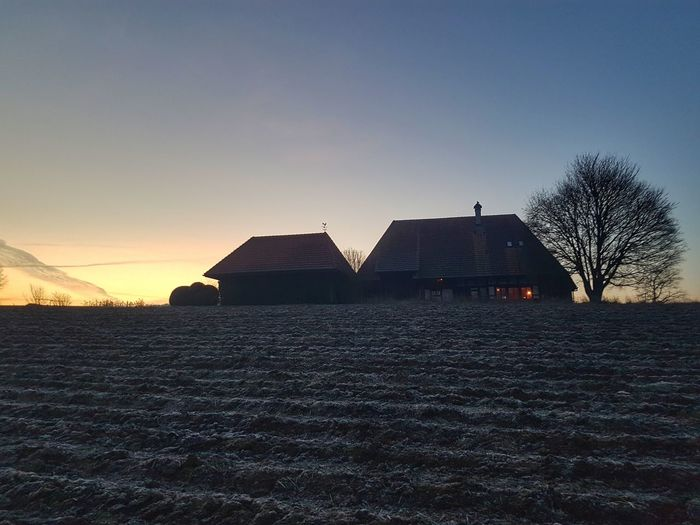 Dawn Farm House Farmland Dawn Morning House Sky Architecture Building Exterior Built Structure
