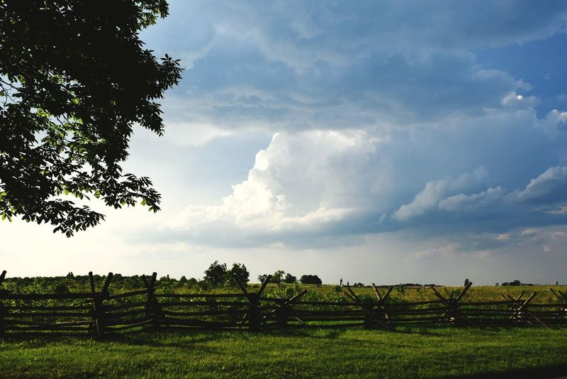 Tree Field Nature Rural SceneScenics Cloud - Sky Outdoors Landscape Day No People Grass Gettysburg National Military Park Gettysburg Pennsylvania Cloudscape The Week On EyeEm Beauty In Nature Outdoor Photography Outdoor Pictures Fence Photography Fences Fence