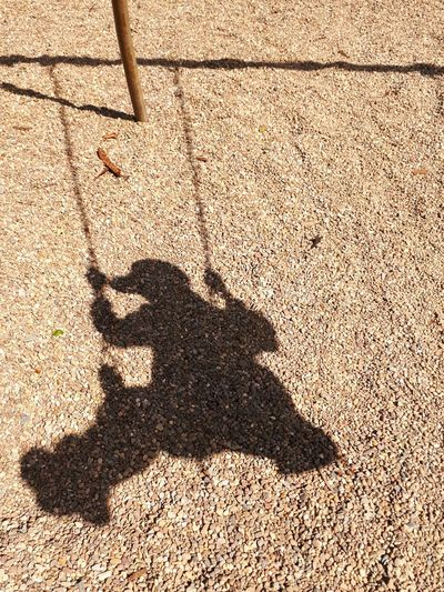 Shadow of person on sand