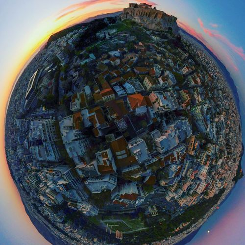 Little planet tiny planet aerial view in Athens Greece at sunset overlooking the Pantheon Pantheon Sunset 360 Panorama Little Planet Tiny Planet Athens Aerial View Drone  Greece Athena Outdoors Close-up