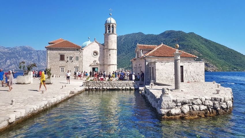Blue Sky Outdoors Vacations Travel Destinations Water Architecture Day Island Our Lady Of The Rocks PERAST Montenegro Boat Seascape Seaview Nature Sea Architecture Church Architecture Church