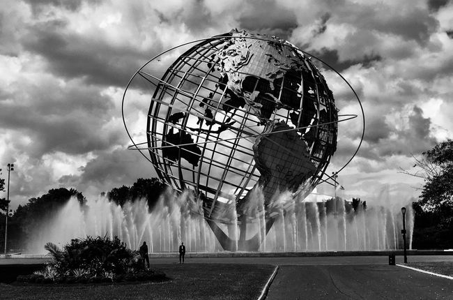 Unisphere Flushing Meadows Corona Park Black And White Sculpture Earth Cloud - Sky Sky Nature Architecture Built Structure Group Of People Real People Outdoors Sphere